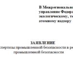Заявление на внесение заключения экспертизы промышленной безопасности в Реестр Ростехнадзора (РТН)